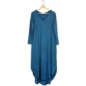 Teal Long Sleeve V-Neck Maxi Dress